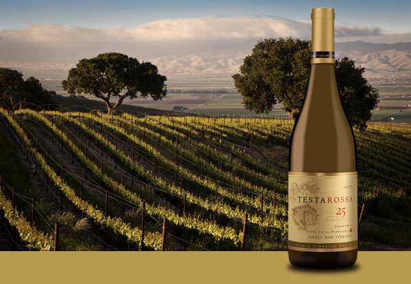 Vineyard and Chardonnay Bottle of Sierra Mar