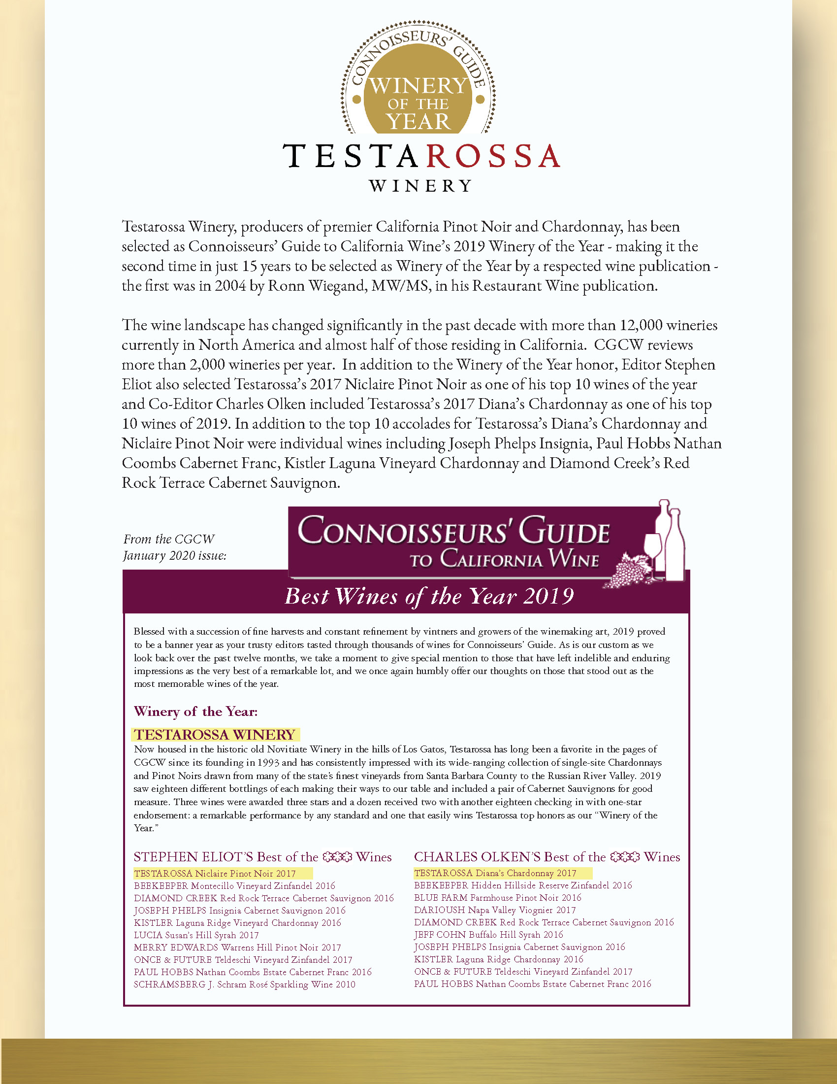 Connoisseurs' Guide Winery of the Year